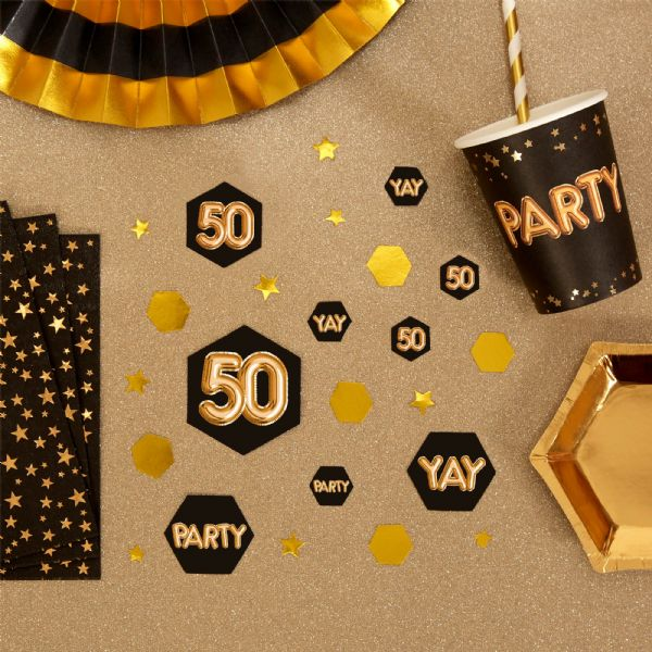 Glitz & Glamour Black & Gold Confetti Scatters 50th (100)